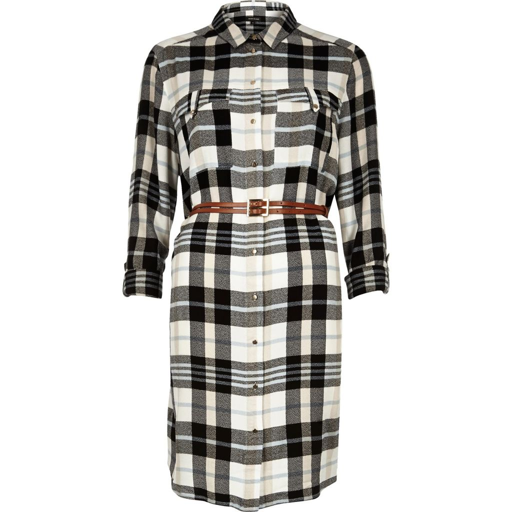 Womens Cream Check Belted Shirt Dress - style: shirt; neckline: shirt collar/peter pan/zip with opening; pattern: checked/gingham; bust detail: pocket detail at bust; waist detail: belted waist/tie at waist/drawstring; secondary colour: white; predominant colour: black; occasions: casual; length: just above the knee; fit: body skimming; fibres: viscose/rayon - 100%; sleeve length: 3/4 length; sleeve style: standard; pattern type: fabric; texture group: other - light to midweight; multicoloured: multicoloured; season: s/s 2016; wardrobe: highlight