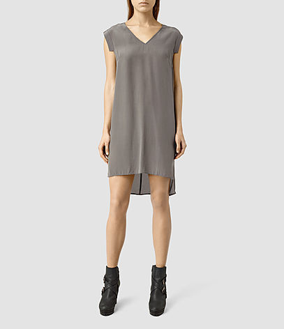 Tonya Vik Dress - style: tunic; length: mid thigh; neckline: v-neck; sleeve style: capped; pattern: plain; hip detail: draws attention to hips; predominant colour: mid grey; occasions: casual, creative work; fit: straight cut; fibres: silk - mix; back detail: longer hem at back than at front; sleeve length: short sleeve; texture group: knits/crochet; pattern type: fabric; pattern size: standard; season: s/s 2016; wardrobe: basic