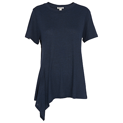 Asymmetric Hem Detail T Shirt - pattern: plain; predominant colour: navy; occasions: casual; length: standard; style: top; fibres: viscose/rayon - 100%; fit: body skimming; neckline: crew; sleeve length: short sleeve; sleeve style: standard; pattern type: fabric; texture group: jersey - stretchy/drapey; season: s/s 2016; wardrobe: basic
