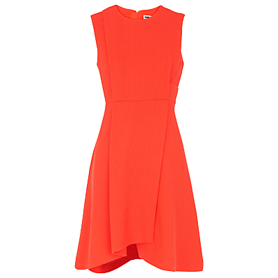 Textured Asymmetric Hem Dress, Orange - length: mid thigh; pattern: plain; sleeve style: sleeveless; predominant colour: bright orange; occasions: evening; fit: fitted at waist & bust; style: fit & flare; fibres: polyester/polyamide - stretch; neckline: crew; sleeve length: sleeveless; pattern type: fabric; texture group: jersey - stretchy/drapey; season: s/s 2016; wardrobe: event