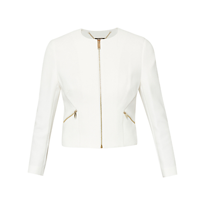 Halis Cropped Textured Gathered Jacket - pattern: plain; style: cropped; collar: round collar/collarless; predominant colour: white; secondary colour: gold; occasions: evening, creative work; fit: tailored/fitted; fibres: polyester/polyamide - stretch; sleeve length: long sleeve; sleeve style: standard; collar break: high; pattern type: fabric; texture group: woven light midweight; length: cropped; season: s/s 2016; wardrobe: investment
