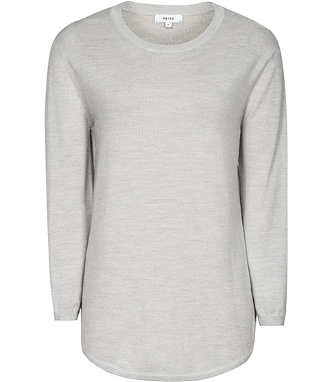 Virgo Lightweight Jumper - neckline: round neck; pattern: plain; length: below the bottom; style: standard; predominant colour: light grey; occasions: casual, work, creative work; fibres: wool - 100%; fit: standard fit; sleeve length: 3/4 length; sleeve style: standard; texture group: knits/crochet; pattern type: knitted - fine stitch; season: s/s 2016; wardrobe: basic