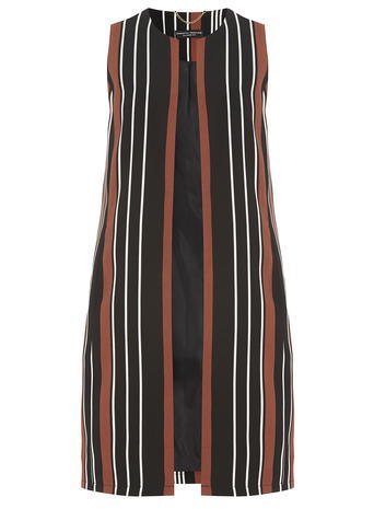 Womens Black Sleeveless Jacket Blue - pattern: horizontal stripes; sleeve style: sleeveless; style: gilet; collar: round collar/collarless; length: below the bottom; predominant colour: bright orange; secondary colour: black; occasions: casual; fit: straight cut (boxy); fibres: polyester/polyamide - 100%; sleeve length: sleeveless; collar break: high; pattern type: fabric; pattern size: standard; texture group: other - light to midweight; season: s/s 2016