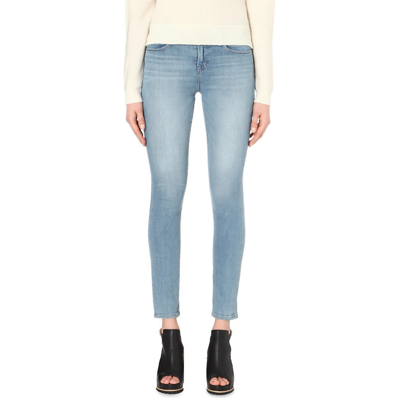Faded Skinny Mid Rise Jeans, Women's, Ocean Side - style: skinny leg; pattern: plain; pocket detail: traditional 5 pocket; waist: mid/regular rise; predominant colour: denim; occasions: casual; length: ankle length; fibres: viscose/rayon - stretch; jeans detail: whiskering, washed/faded; texture group: denim; pattern type: fabric; season: s/s 2016; wardrobe: basic