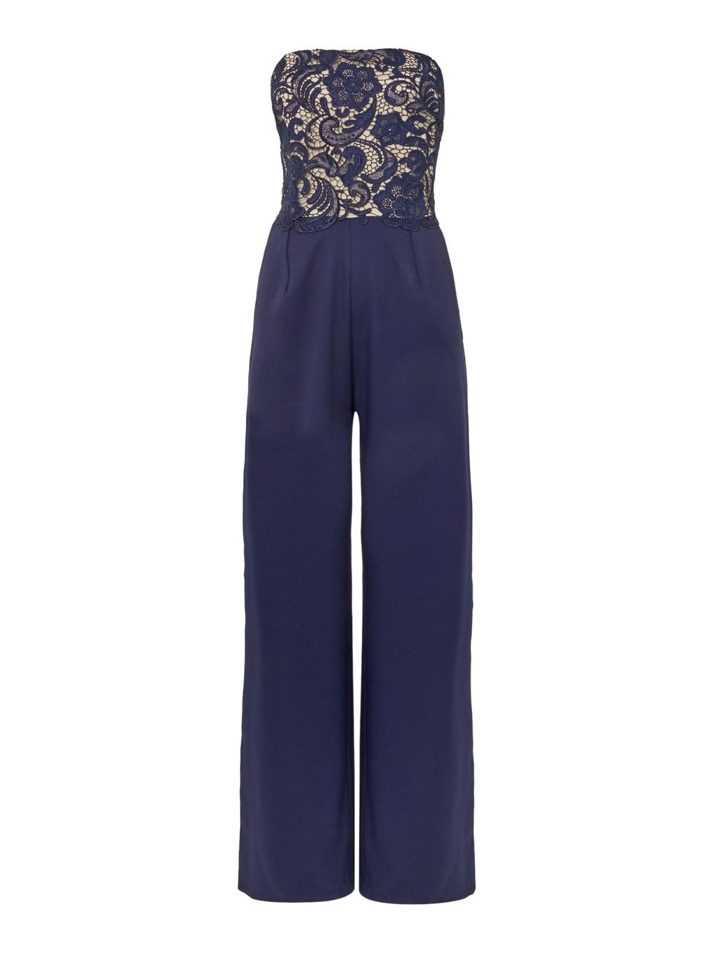 Sleeveless Embroidered Jumpsuit, Navy - length: standard; neckline: strapless (straight/sweetheart); fit: tailored/fitted; sleeve style: sleeveless; predominant colour: navy; secondary colour: nude; fibres: polyester/polyamide - stretch; occasions: occasion; sleeve length: sleeveless; texture group: lace; style: jumpsuit; pattern type: fabric; pattern size: standard; pattern: patterned/print; embellishment: lace; season: s/s 2016; wardrobe: event