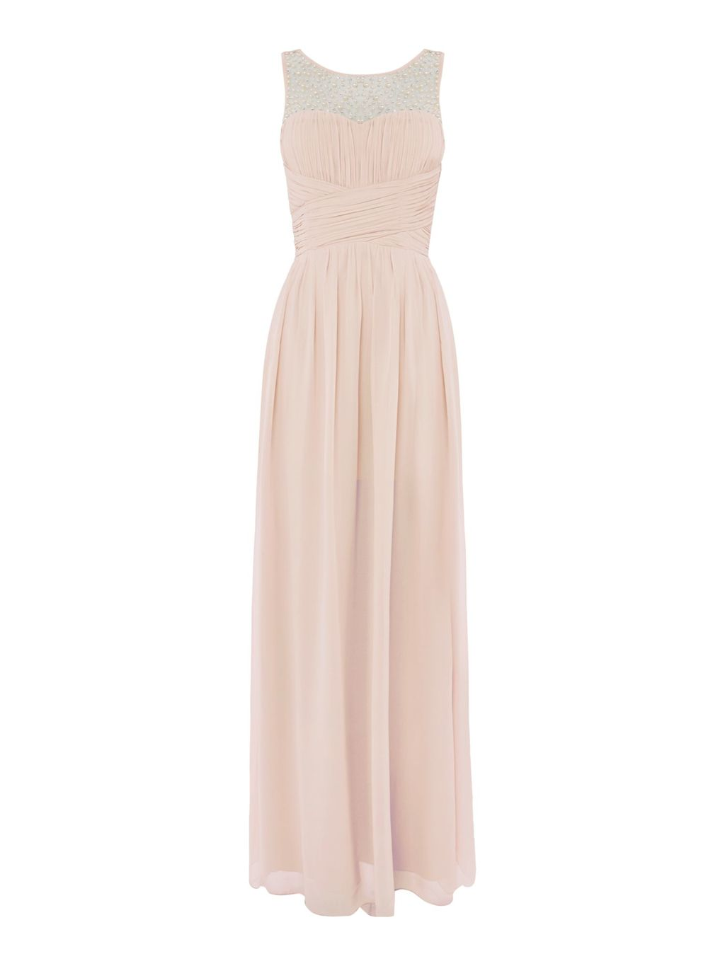 Embellished Sleeveless Pleat Detail Maxi Dress, Nude - neckline: round neck; fit: fitted at waist; pattern: plain; style: maxi dress; predominant colour: blush; length: floor length; fibres: polyester/polyamide - 100%; occasions: occasion; sleeve length: short sleeve; sleeve style: standard; pattern type: fabric; texture group: other - light to midweight; season: s/s 2016; wardrobe: event