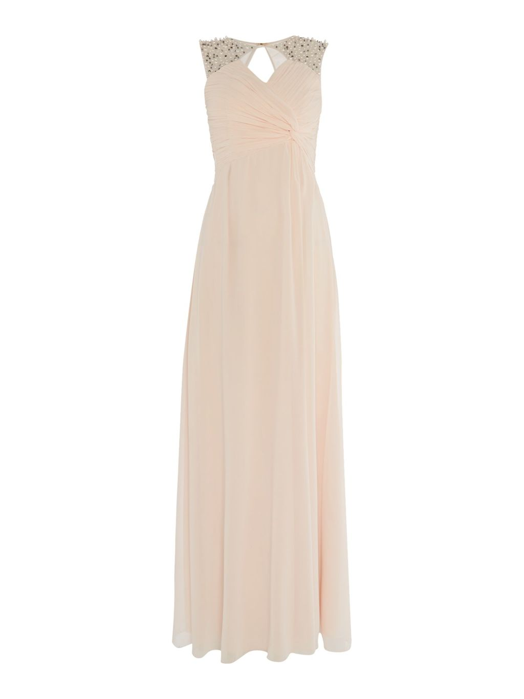 Embellished Shoulder And Drape Front Dress, Nude - neckline: low v-neck; pattern: plain; sleeve style: sleeveless; style: maxi dress; predominant colour: blush; secondary colour: silver; length: floor length; fit: fitted at waist & bust; fibres: polyester/polyamide - stretch; occasions: occasion; sleeve length: sleeveless; texture group: crepes; pattern type: fabric; season: s/s 2016; wardrobe: event; embellishment: contrast fabric; embellishment location: shoulder