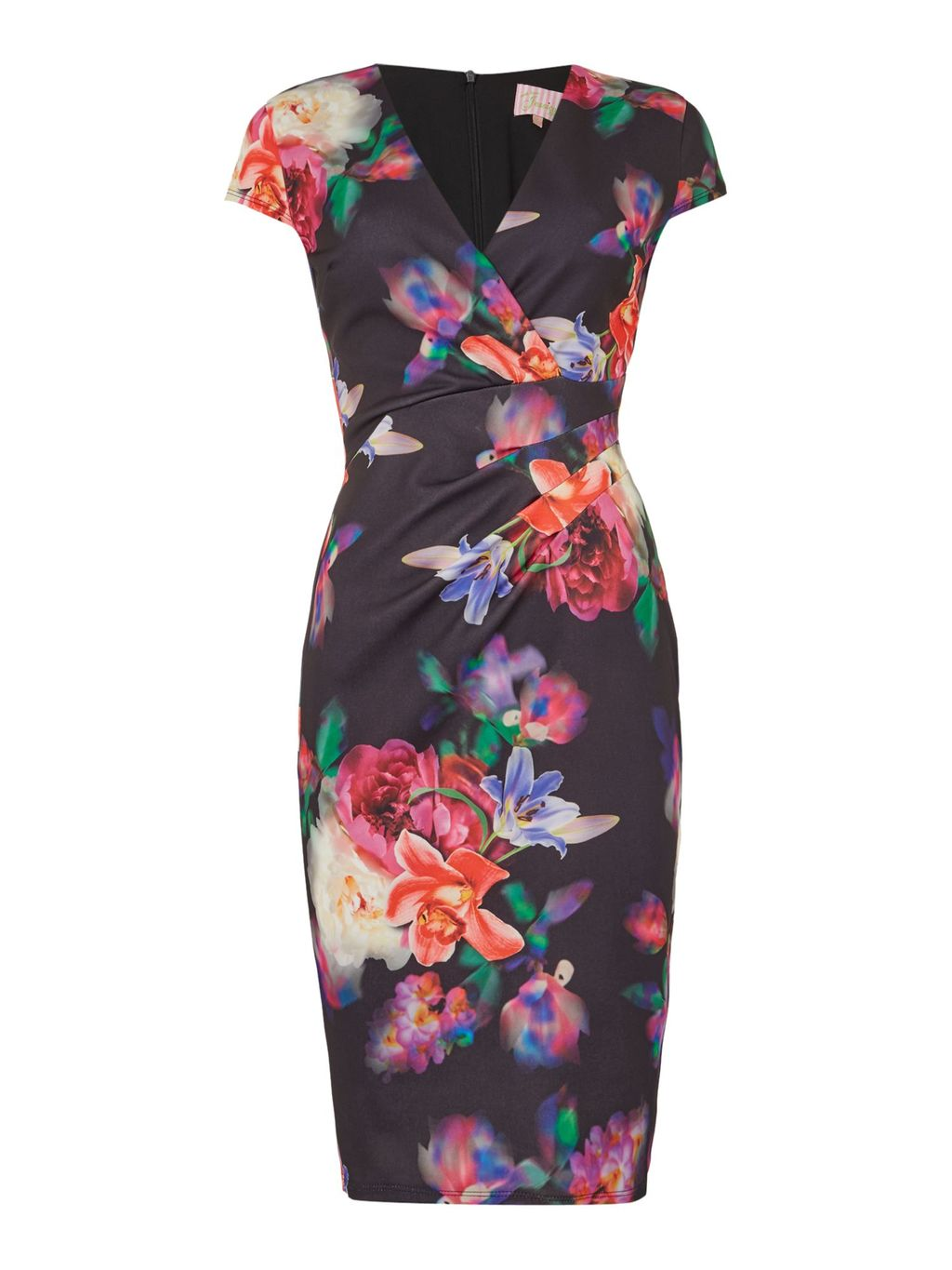 Sleeveless V Neck Floral Bodycon Dress, Multi Coloured - style: shift; neckline: v-neck; fit: tight; secondary colour: magenta; predominant colour: black; length: on the knee; fibres: polyester/polyamide - stretch; occasions: occasion; sleeve length: short sleeve; sleeve style: standard; pattern type: fabric; pattern size: standard; pattern: florals; texture group: jersey - stretchy/drapey; multicoloured: multicoloured; season: s/s 2016; wardrobe: event