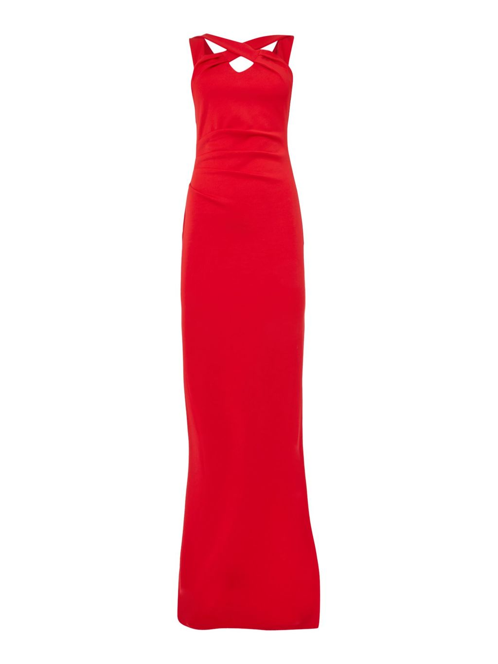 Sleeveless Cross Over Maxi Dress, Red - neckline: v-neck; fit: tight; pattern: plain; sleeve style: sleeveless; style: maxi dress; length: ankle length; predominant colour: true red; occasions: occasion; sleeve length: sleeveless; pattern type: fabric; texture group: other - light to midweight; fibres: viscose/rayon - mix; season: s/s 2016; wardrobe: event