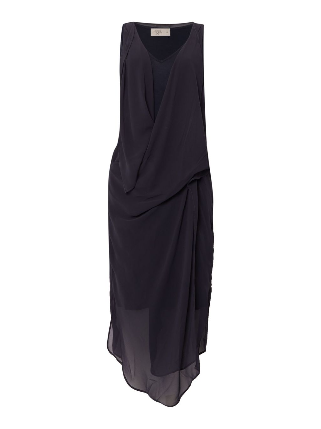 Chiffon Layered Drape Dress, Grey - style: shift; neckline: low v-neck; pattern: plain; sleeve style: sleeveless; waist detail: flattering waist detail; predominant colour: charcoal; occasions: evening, occasion; length: just above the knee; fit: body skimming; fibres: viscose/rayon - 100%; hip detail: subtle/flattering hip detail; sleeve length: sleeveless; texture group: sheer fabrics/chiffon/organza etc.; pattern type: fabric; season: s/s 2016; wardrobe: event