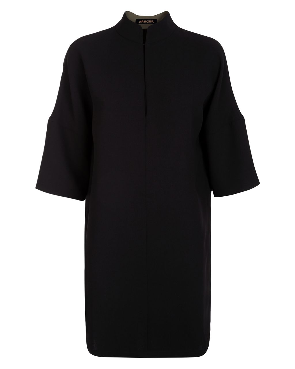 Crepe Dropped Shoulder Dress, Black - style: shift; pattern: plain; neckline: high neck; predominant colour: black; length: just above the knee; fit: straight cut; fibres: polyester/polyamide - 100%; sleeve length: 3/4 length; sleeve style: standard; pattern type: fabric; texture group: other - light to midweight; occasions: creative work; season: s/s 2016; wardrobe: investment
