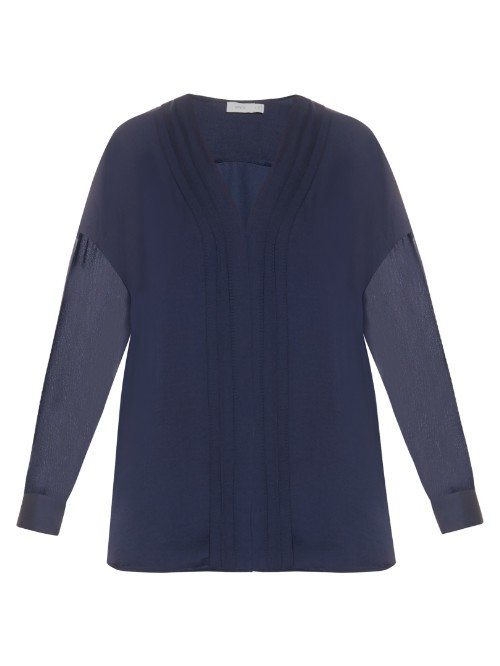 V Neck Satin Blouse - neckline: v-neck; pattern: plain; style: blouse; predominant colour: navy; occasions: evening; length: standard; fibres: silk - 100%; fit: body skimming; sleeve length: long sleeve; sleeve style: standard; texture group: sheer fabrics/chiffon/organza etc.; pattern type: fabric; season: s/s 2016; wardrobe: event