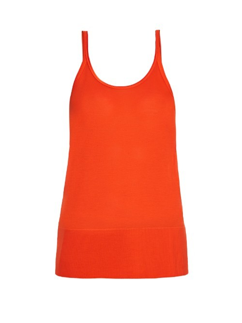 Jane Tank Top - pattern: plain; sleeve style: sleeveless; style: vest top; predominant colour: bright orange; occasions: casual; length: standard; neckline: scoop; fibres: polyester/polyamide - stretch; fit: body skimming; hip detail: adds bulk at the hips; sleeve length: sleeveless; pattern type: fabric; texture group: jersey - stretchy/drapey; season: s/s 2016; wardrobe: highlight