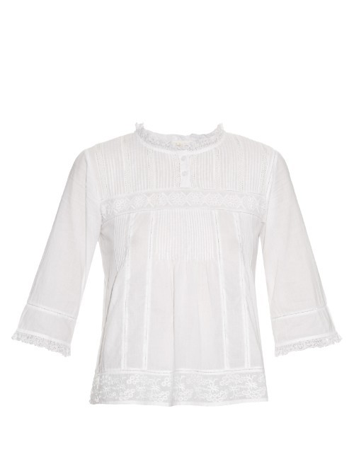 Enhoa Cotton Top - pattern: plain; predominant colour: white; occasions: casual, work, creative work; length: standard; style: top; fibres: cotton - 100%; fit: body skimming; neckline: crew; sleeve length: 3/4 length; sleeve style: standard; pattern type: fabric; texture group: jersey - stretchy/drapey; season: s/s 2016; wardrobe: basic
