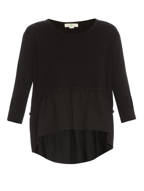 Ruffle Trimmed Cotton Jersey Top - neckline: round neck; pattern: plain; predominant colour: black; occasions: casual, creative work; length: standard; style: top; fibres: cotton - 100%; fit: body skimming; sleeve length: 3/4 length; sleeve style: standard; pattern type: fabric; texture group: jersey - stretchy/drapey; season: s/s 2016