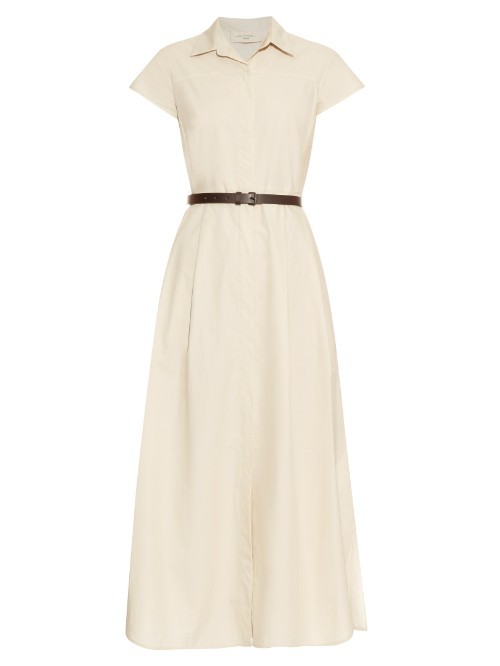 Ande Dress - style: shirt; neckline: shirt collar/peter pan/zip with opening; sleeve style: capped; pattern: plain; length: ankle length; waist detail: belted waist/tie at waist/drawstring; predominant colour: ivory/cream; occasions: casual; fit: body skimming; fibres: cotton - 100%; sleeve length: short sleeve; pattern type: fabric; texture group: other - light to midweight; season: s/s 2016; wardrobe: basic