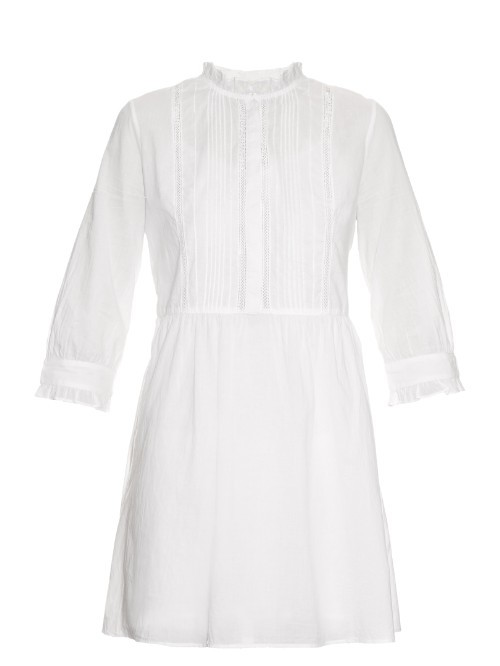 Emir Cotton Dress - style: shift; length: mid thigh; pattern: plain; neckline: high neck; predominant colour: white; occasions: casual, creative work; fit: body skimming; fibres: cotton - 100%; sleeve length: long sleeve; sleeve style: standard; pattern type: fabric; texture group: other - light to midweight; season: s/s 2016; wardrobe: basic