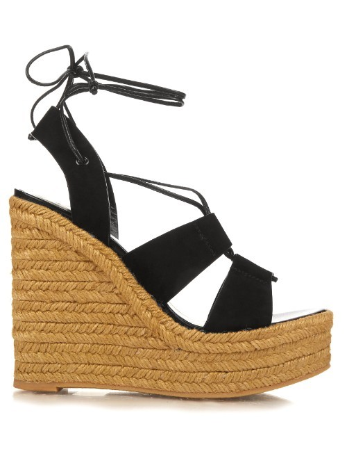 Suede Espadrille Wedge Sandals - secondary colour: camel; predominant colour: black; occasions: casual, holiday; material: suede; ankle detail: ankle tie; heel: wedge; toe: open toe/peeptoe; style: strappy; finish: plain; pattern: plain; heel height: very high; shoe detail: platform; season: s/s 2016; wardrobe: investment