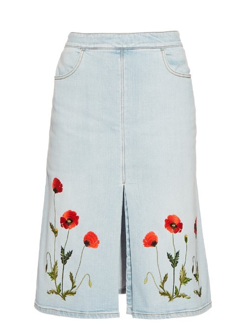 Janelle Embroidered Denim Skirt - pattern: plain; fit: loose/voluminous; waist: high rise; predominant colour: denim; occasions: casual, creative work; length: on the knee; style: a-line; fibres: cotton - stretch; texture group: denim; pattern type: fabric; embellishment: embroidered; season: s/s 2016; wardrobe: highlight