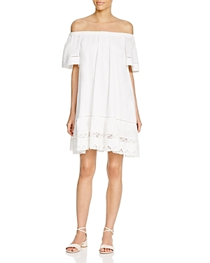 Cotton Off The Shoulder Dress - length: mid thigh; neckline: off the shoulder; fit: loose; pattern: plain; style: sundress; predominant colour: ivory/cream; occasions: casual; fibres: cotton - 100%; sleeve length: short sleeve; sleeve style: standard; texture group: lace; pattern type: fabric; season: s/s 2016; wardrobe: highlight