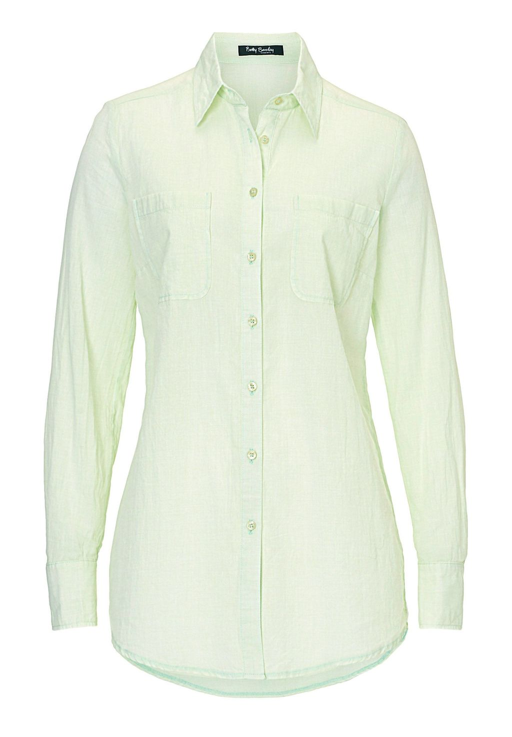 Long Cotton Blouse, Pastel Green - neckline: shirt collar/peter pan/zip with opening; pattern: plain; length: below the bottom; style: shirt; predominant colour: pistachio; occasions: casual, creative work; fibres: cotton - 100%; fit: body skimming; sleeve length: long sleeve; sleeve style: standard; pattern type: fabric; texture group: other - light to midweight; season: s/s 2016; wardrobe: highlight