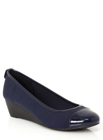 Womens Lotus Navy Lychee Shoes, Navy - predominant colour: navy; occasions: work; material: faux leather; heel height: mid; heel: wedge; toe: round toe; style: courts; finish: plain; pattern: plain; season: s/s 2016; wardrobe: investment