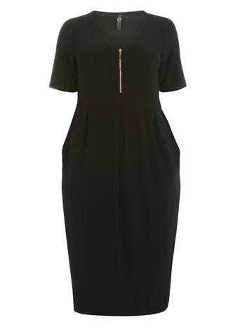 Womens Evans Black Longline Zip Front Dress, Black - style: shift; length: below the knee; neckline: v-neck; pattern: plain; predominant colour: black; fit: body skimming; fibres: polyester/polyamide - stretch; sleeve length: short sleeve; sleeve style: standard; pattern type: fabric; texture group: jersey - stretchy/drapey; occasions: creative work; season: s/s 2016; wardrobe: investment; embellishment location: bust