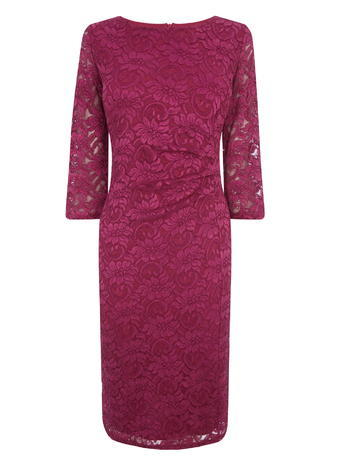 Womens Floral Lace Half Sleeve Midi Dress, Pink, Pink - style: shift; length: below the knee; fit: tailored/fitted; predominant colour: hot pink; fibres: polyester/polyamide - stretch; occasions: occasion; neckline: crew; sleeve length: 3/4 length; sleeve style: standard; texture group: lace; pattern type: fabric; pattern size: standard; pattern: patterned/print; embellishment: lace; season: s/s 2016