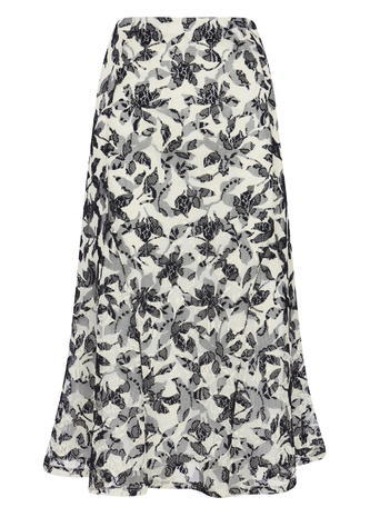 Womens Floral Printed Lace Overlay Co Ord Skirt, Ivory Print, Ivory Print - length: below the knee; fit: loose/voluminous; waist: high rise; secondary colour: ivory/cream; predominant colour: black; style: a-line; fibres: polyester/polyamide - 100%; pattern type: fabric; pattern: florals; texture group: other - light to midweight; occasions: creative work; pattern size: big & busy (bottom); season: s/s 2016; wardrobe: highlight
