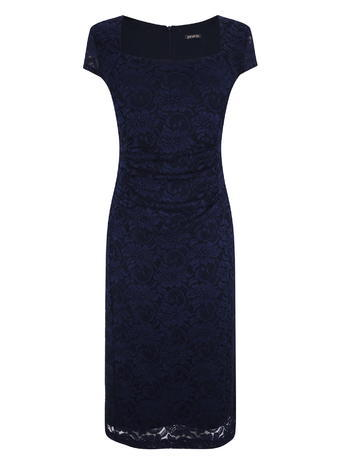 Womens Ruched Lace Midi Dress, Navy, Navy - style: shift; length: below the knee; neckline: round neck; sleeve style: capped; fit: tailored/fitted; predominant colour: navy; fibres: polyester/polyamide - stretch; occasions: occasion; sleeve length: short sleeve; texture group: lace; pattern type: fabric; pattern size: standard; pattern: patterned/print; embellishment: lace; season: s/s 2016