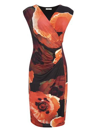 Poppy Print Placement Long Dress, Orange, Black/Red - style: shift; length: below the knee; neckline: v-neck; sleeve style: sleeveless; secondary colour: bright orange; predominant colour: black; fit: body skimming; fibres: polyester/polyamide - 100%; occasions: occasion; sleeve length: sleeveless; pattern type: fabric; pattern size: big & busy; pattern: florals; texture group: jersey - stretchy/drapey; season: s/s 2016; wardrobe: event