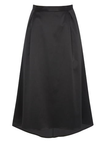 Womens Satin Effect Prom Occasion Skirt, Black, Black - length: below the knee; pattern: plain; fit: loose/voluminous; waist: high rise; predominant colour: black; style: a-line; fibres: polyester/polyamide - 100%; occasions: occasion; hip detail: structured pleats at hip; texture group: structured shiny - satin/tafetta/silk etc.; pattern type: fabric; season: s/s 2016; wardrobe: event
