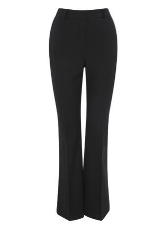 Womens Kick Flare Trousers, Black, Black - length: standard; pattern: plain; waist: high rise; predominant colour: black; occasions: evening; fibres: cotton - stretch; fit: wide leg; pattern type: fabric; texture group: woven light midweight; style: standard; pattern size: standard (bottom); season: s/s 2016; wardrobe: event