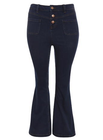 Womens Evans Indigo Flare Leg Jeans, Denim - style: flares; length: standard; pattern: plain; waist: mid/regular rise; predominant colour: navy; occasions: casual; fibres: cotton - stretch; jeans detail: dark wash; texture group: denim; pattern type: fabric; season: s/s 2016; wardrobe: basic