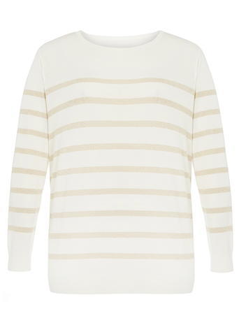 Womens Dp Curve Ivory And Gold Stripe Jumper, Ivory - neckline: round neck; pattern: striped; style: standard; predominant colour: ivory/cream; secondary colour: gold; occasions: casual, work, creative work; length: standard; fibres: cotton - mix; fit: standard fit; sleeve length: 3/4 length; sleeve style: standard; texture group: knits/crochet; pattern type: knitted - fine stitch; pattern size: light/subtle; season: s/s 2016; wardrobe: highlight