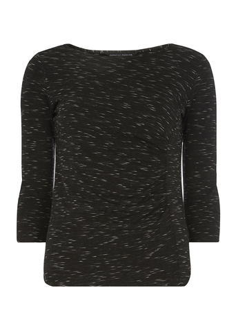 Womens Dorothy Perkins Grey Space Dye Top, Black - neckline: round neck; pattern: plain; predominant colour: black; occasions: casual, creative work; length: standard; style: top; fibres: polyester/polyamide - mix; fit: body skimming; sleeve length: 3/4 length; sleeve style: standard; pattern type: knitted - fine stitch; texture group: jersey - stretchy/drapey; season: s/s 2016; wardrobe: basic