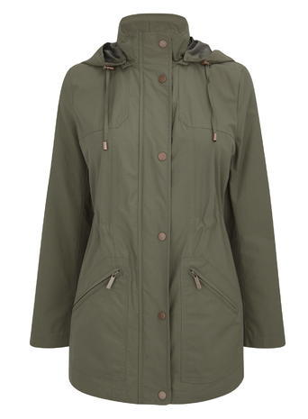 Womens Petite Sheen Utility Jacket, Khaki, Khaki - pattern: plain; length: below the bottom; collar: funnel; style: parka; back detail: hood; predominant colour: khaki; occasions: casual; fit: straight cut (boxy); fibres: polyester/polyamide - 100%; hip detail: subtle/flattering hip detail; sleeve length: long sleeve; sleeve style: standard; collar break: high; pattern type: fabric; texture group: other - light to midweight; season: s/s 2016; wardrobe: basic