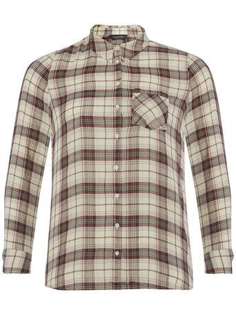 Womens Dp Curve Ivory And Wine Check Shirt, Ivory - neckline: shirt collar/peter pan/zip with opening; pattern: checked/gingham; style: shirt; bust detail: pocket detail at bust; predominant colour: ivory/cream; secondary colour: burgundy; occasions: casual; length: standard; fibres: cotton - 100%; fit: body skimming; sleeve length: long sleeve; sleeve style: standard; pattern type: fabric; texture group: jersey - stretchy/drapey; pattern size: big & busy (top); season: s/s 2016; wardrobe: highlight