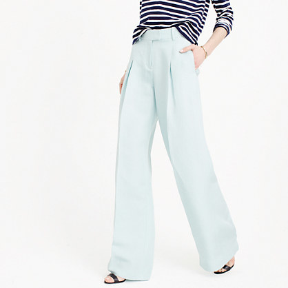 Collection Wide Leg Pant In Silk Linen - length: standard; pattern: plain; waist: high rise; predominant colour: pale blue; occasions: casual, creative work; fibres: linen - mix; fit: wide leg; pattern type: fabric; texture group: woven light midweight; style: standard; season: s/s 2016; wardrobe: highlight