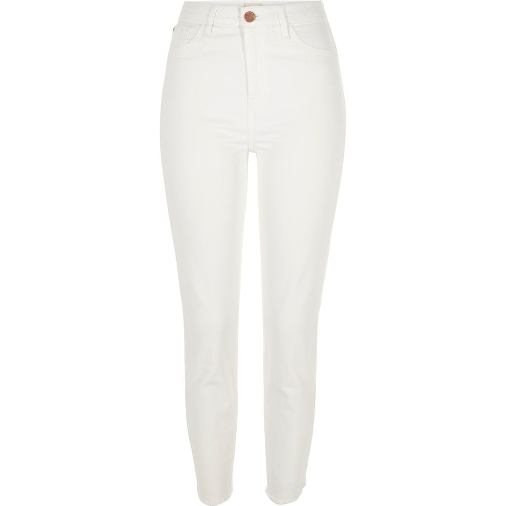 Womens White High Rise Lori Skinny Jeans - style: skinny leg; length: standard; pattern: plain; waist: high rise; predominant colour: white; occasions: casual; fibres: cotton - stretch; texture group: denim; pattern type: fabric; season: s/s 2016; wardrobe: highlight
