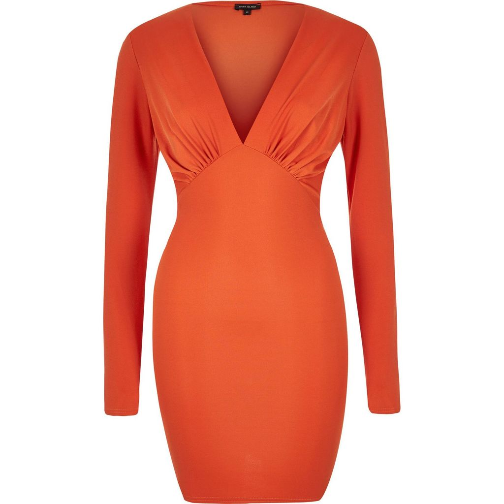 Womens Orange Plunge Neck Bodycon Mini Dress - length: mid thigh; neckline: v-neck; fit: tight; pattern: plain; style: bodycon; predominant colour: bright orange; occasions: evening; fibres: polyester/polyamide - stretch; sleeve length: long sleeve; sleeve style: standard; texture group: jersey - clingy; pattern type: fabric; season: s/s 2016; wardrobe: event