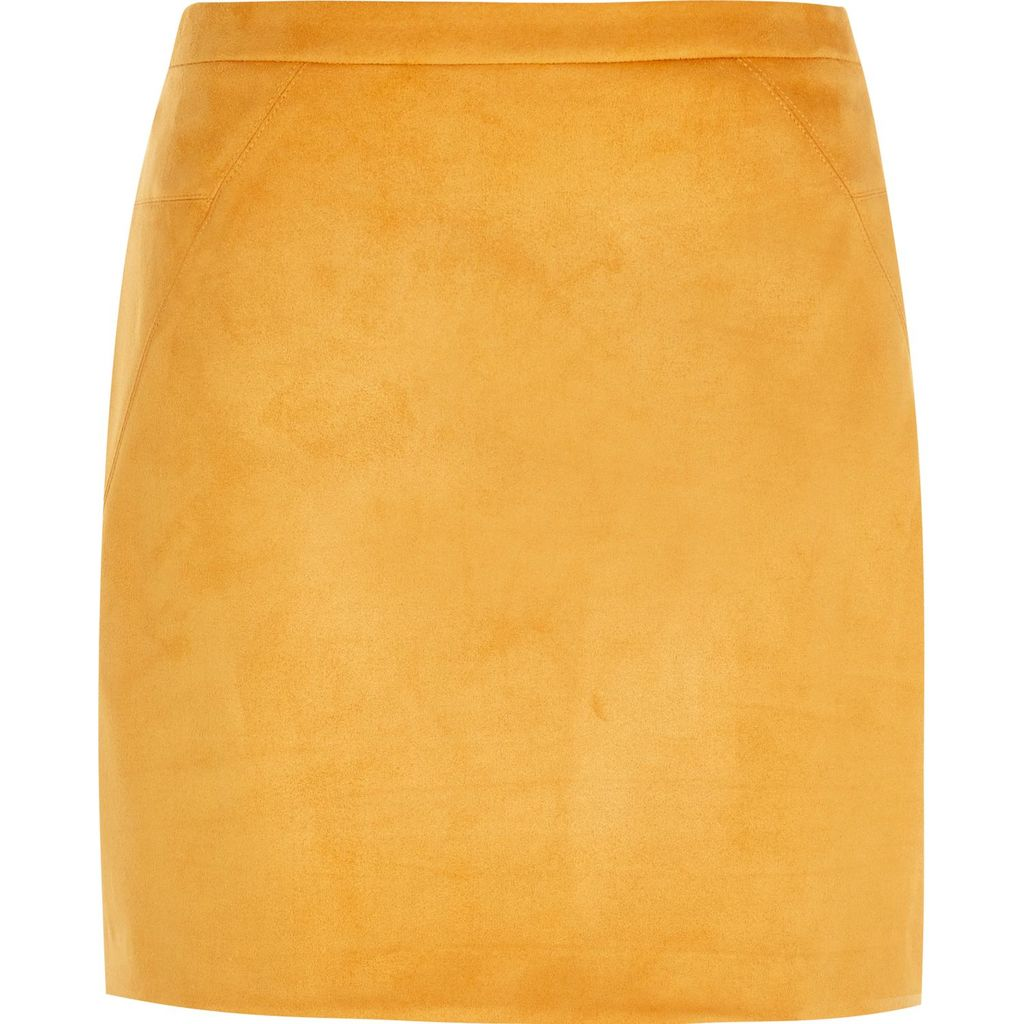 Womens Orange Faux Suede Mini Skirt - length: mid thigh; pattern: plain; fit: body skimming; waist: mid/regular rise; predominant colour: mustard; occasions: evening, creative work; style: mini skirt; fibres: polyester/polyamide - stretch; pattern type: fabric; texture group: suede; pattern size: standard (bottom); season: s/s 2016; wardrobe: highlight