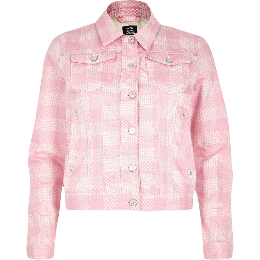 Womens Pink Design Forum Floral Print Denim Jacket - pattern: checked/gingham; style: denim; secondary colour: ivory/cream; predominant colour: pink; occasions: casual; length: standard; fit: straight cut (boxy); fibres: cotton - stretch; collar: shirt collar/peter pan/zip with opening; sleeve length: long sleeve; sleeve style: standard; texture group: denim; collar break: high/illusion of break when open; pattern type: fabric; pattern size: standard; season: s/s 2016; wardrobe: highlight; embellishment location: bust, hip