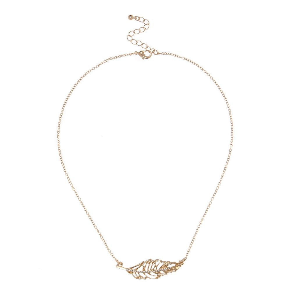 Womens Gold Embellished Leaf Necklace - predominant colour: gold; occasions: evening, occasion; style: pendant; length: short; size: small/fine; material: chain/metal; finish: metallic; season: s/s 2016