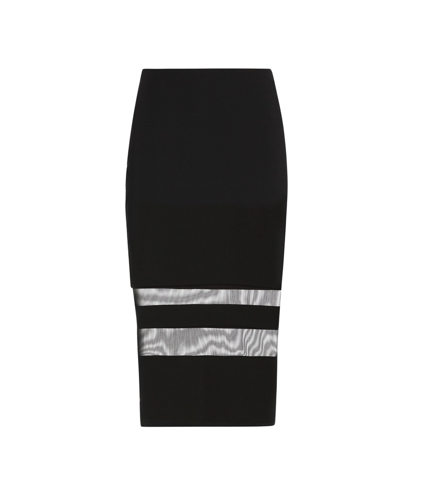 Mesh Stripe Pencil Skirt - style: pencil; fit: tight; waist: mid/regular rise; predominant colour: black; occasions: evening; length: on the knee; fibres: viscose/rayon - stretch; texture group: jersey - clingy; pattern type: fabric; pattern: horizontal stripes (bottom); season: s/s 2016