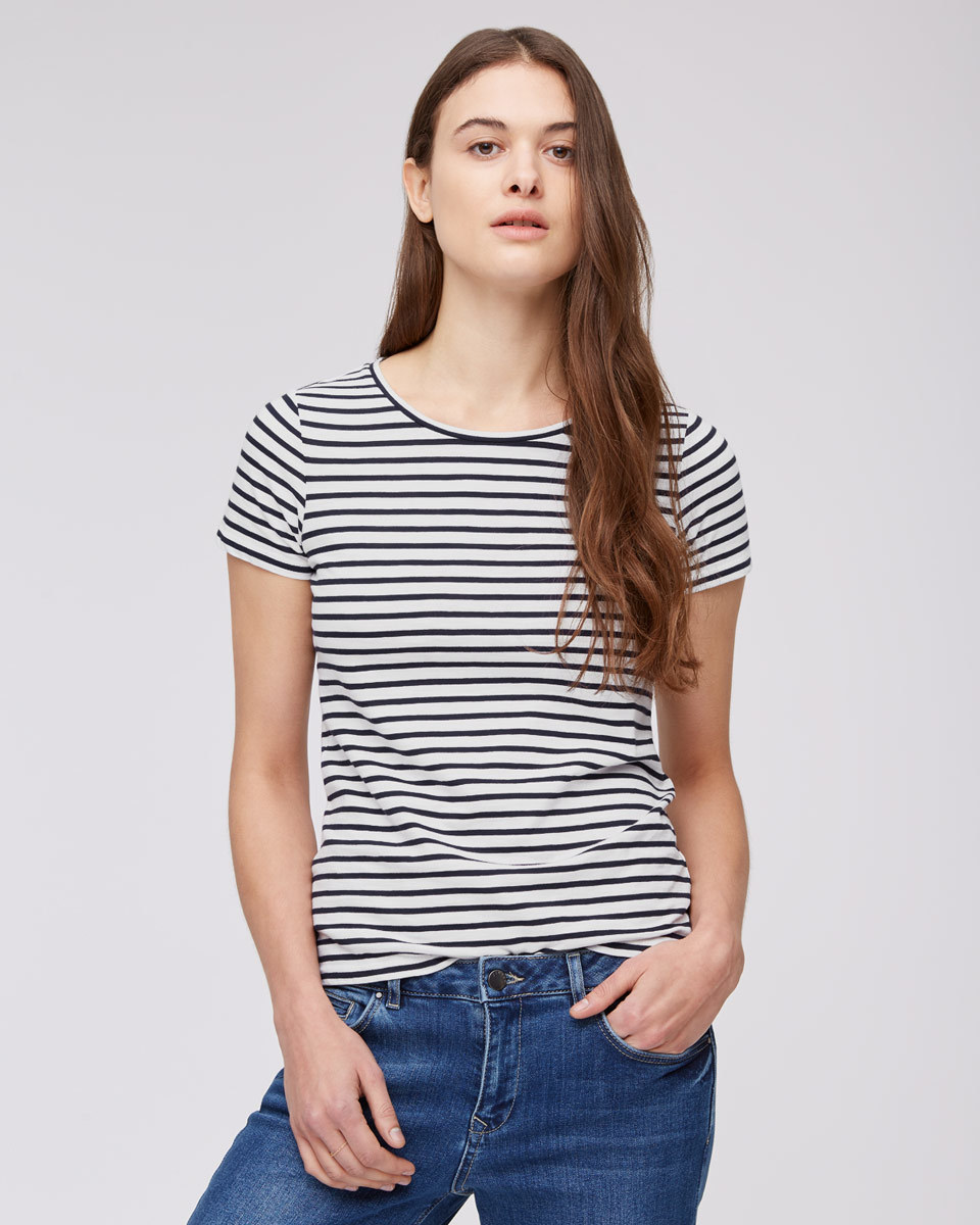 Cotton Slub Stripe Short Sleeve T Shirt - pattern: horizontal stripes; style: t-shirt; predominant colour: white; secondary colour: black; occasions: casual; length: standard; fibres: cotton - 100%; fit: body skimming; neckline: crew; sleeve length: short sleeve; sleeve style: standard; pattern type: fabric; texture group: jersey - stretchy/drapey; multicoloured: multicoloured; season: s/s 2016; wardrobe: basic