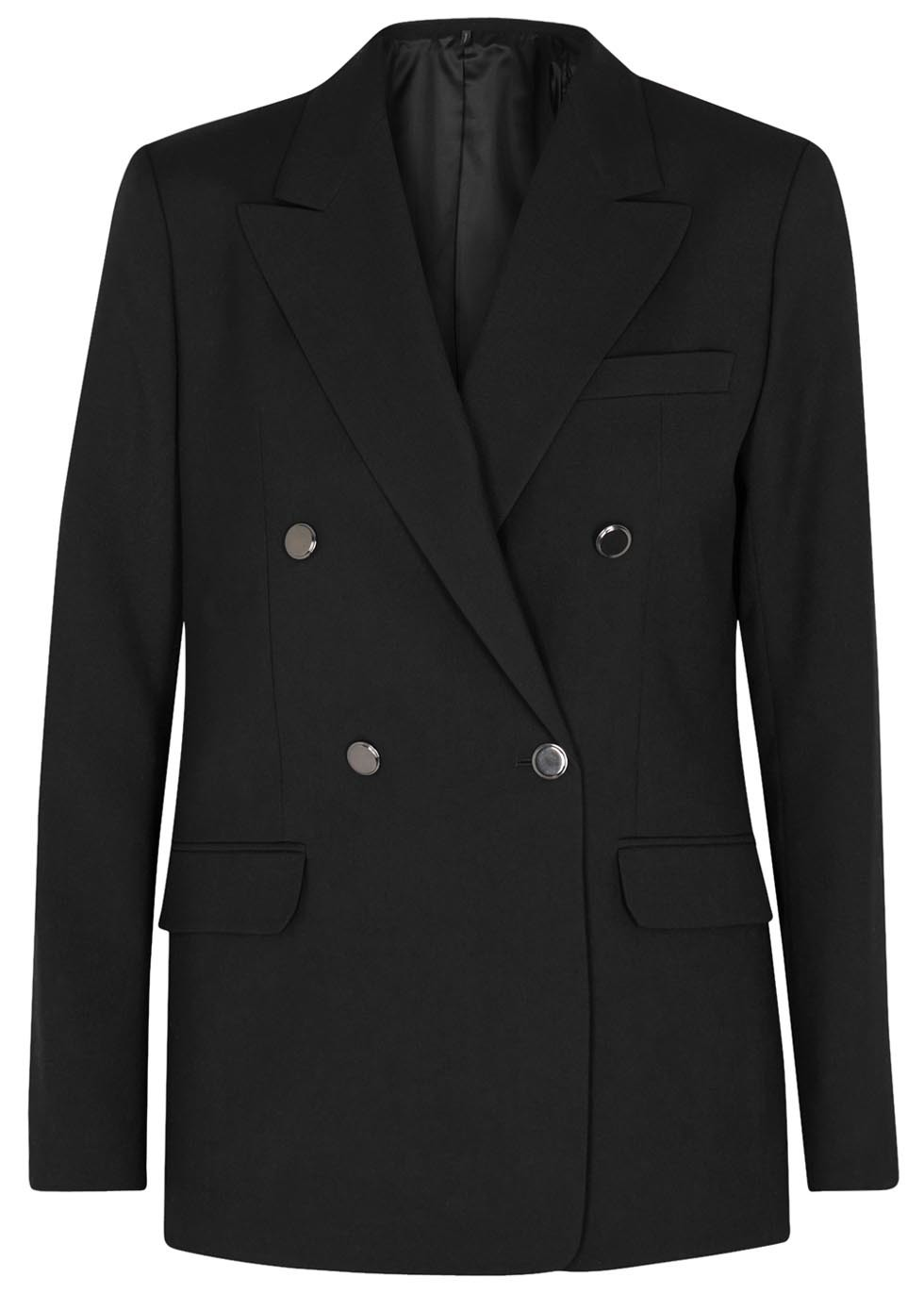 Black Double Breasted Wool Jacket - pattern: plain; style: double breasted blazer; length: below the bottom; collar: standard lapel/rever collar; predominant colour: black; occasions: work; fit: tailored/fitted; fibres: wool - 100%; sleeve length: long sleeve; sleeve style: standard; collar break: medium; pattern type: fabric; texture group: woven light midweight; season: s/s 2016; wardrobe: investment