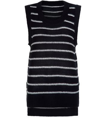 Navy Stripe Knitted Vest - neckline: round neck; pattern: horizontal stripes; sleeve style: sleeveless; style: vest top; secondary colour: white; predominant colour: navy; occasions: casual, creative work; fibres: acrylic - mix; fit: body skimming; length: mid thigh; back detail: longer hem at back than at front; sleeve length: sleeveless; trends: monochrome; texture group: knits/crochet; pattern type: knitted - fine stitch; pattern size: big & busy (top); season: s/s 2016; wardrobe: basic