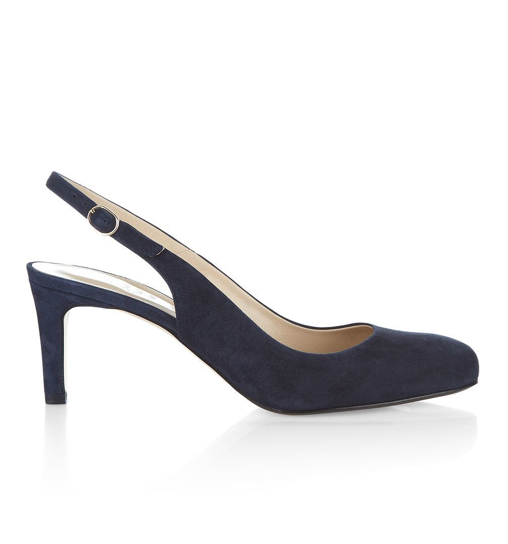 Lizzie Slingback, Navy - predominant colour: navy; occasions: work, occasion; material: suede; heel height: high; heel: stiletto; toe: round toe; style: slingbacks; finish: plain; pattern: plain; season: s/s 2016; wardrobe: investment