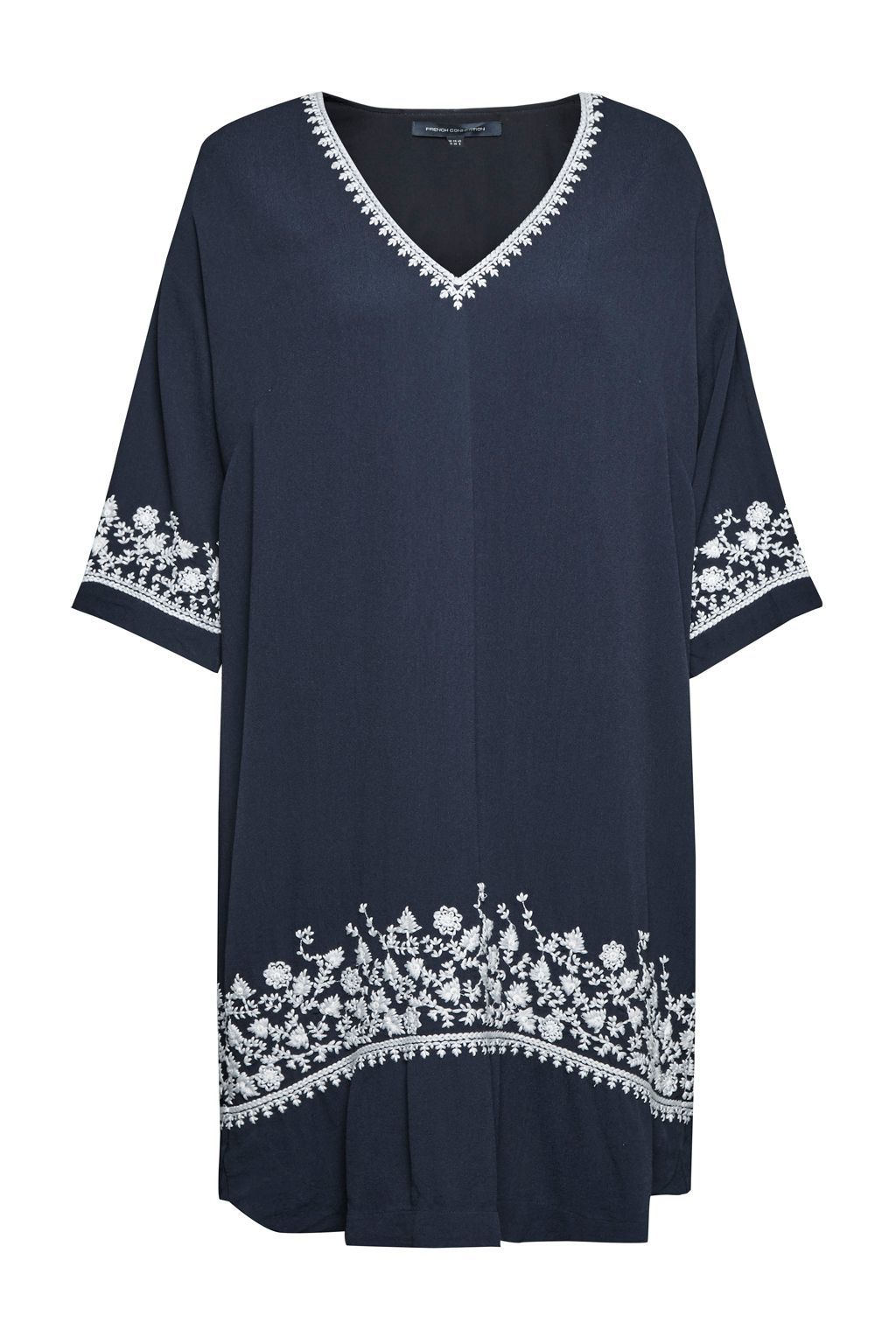 Jasmine Drape Embroidered Tunic Dress, Blue - style: tunic; neckline: v-neck; fit: loose; secondary colour: white; predominant colour: navy; occasions: casual; length: just above the knee; fibres: viscose/rayon - 100%; sleeve length: 3/4 length; sleeve style: standard; pattern type: fabric; pattern size: standard; pattern: patterned/print; texture group: other - light to midweight; embellishment: embroidered; season: s/s 2016; wardrobe: highlight; embellishment location: hem, neck